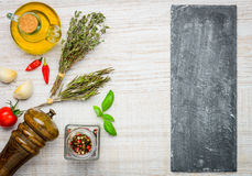 Cottura gli ingredienti e dello spazio della copia Fotografia Stock