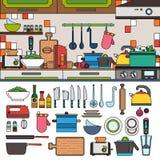 Cottura gli strumenti e degli utensili nella cucina Immagine Stock Libera da Diritti