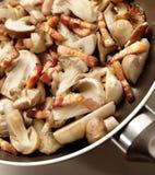 Cottura i funghi e del bacon in una padella Immagine Stock Libera da Diritti