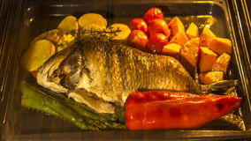 Cottura pesce e delle verdure in forno di cottura stock footage