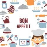 Cottura uomo e del testo Bon Appetit Fotografia Stock