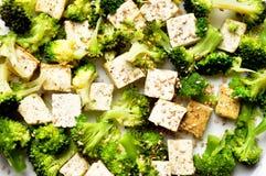 Alimento del vegano: piatto cotto a vapore del tofu e del broccolo Fotografie Stock Libere da Diritti