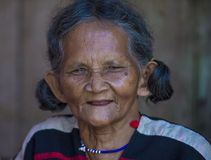 Cotu ethnic minority in Vietnam. QUANG NAM , VIETNAM - OCT 07 : Portrait of a woman from the Cotu Minority in Quang Nam Vietnam  on October 07 2017. The Cotu Stock Photography
