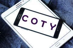 Coty beauty products manufacturer logo. Logo of Coty company on samsung mobile. Coty is a North American beauty products manufacturer. Its main products are Royalty Free Stock Photos