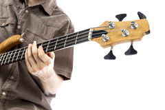 Cou d'une guitare basse Photographie stock