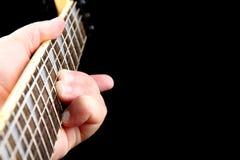 Cou de guitare de six chaînes de caractères Photo stock