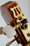 Cou principal de guitare avec les chevilles de accord Images stock