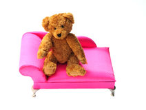 On the couch. Shot of a bear on the couch on white Royalty Free Stock Photography