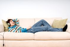 On the couch Royalty Free Stock Photo