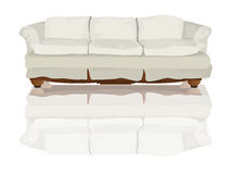 Couch. Or sofa and reflection drawing over white background Royalty Free Stock Image