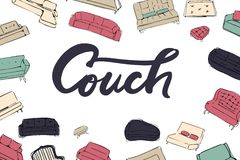 Couch big set. Vecthand drawn illustration. Interiors projects. Royalty Free Stock Photo
