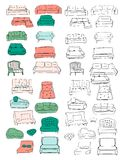 Couch big set. Vecthand drawn illustration. Interiors projects. Royalty Free Stock Image