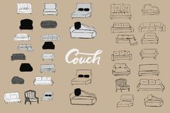 Couch big set. Vecthand drawn illustration. Interiors projects. Royalty Free Stock Images