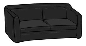 Couch black leather Royalty Free Stock Image