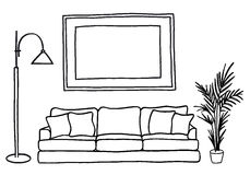 Couch and blank picture frame, vector mock-up Stock Image