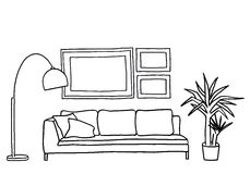 Couch and blank picture frames, vector mock-up Royalty Free Stock Photo