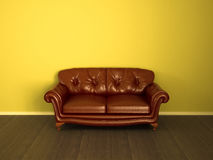 Couch brown leather. Sofa or couch in brown shade, on wood floor vector illustration