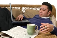 Couch Computing Royalty Free Stock Photography