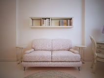 Couch in front of a wall in living room stock illustration