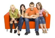 Couch Full Of Friends Royalty Free Stock Photography