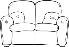 Couch outline illustration. Sketch style. Sofa with pillow. Vector hand drawn sofa royalty free illustration