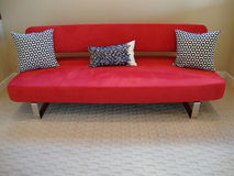 Modern Red Couch and Pillows Royalty Free Stock Image