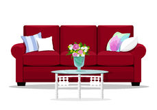 couch and pillows. Flat design home furniture. vector illustration
