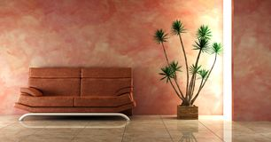 Couch into the pink interior. 3d interior in pink colour with modern couch stock illustration