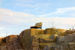 A couch placed at an unusual spot in the yukon Royalty Free Stock Photography