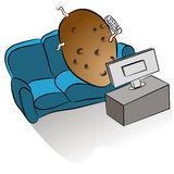 Couch Potato. An image of a couch potato watching tv Stock Photos