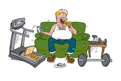Couch potato. Cartoon illustration of a couch potato eating pizza Stock Photos