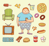 Couch potato cartoon. Vector illustration Stock Photography