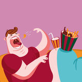 Couch potato. Eating snacks. Cartoon character vector illustration