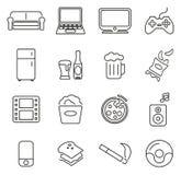 Couch Potato Icons Thin Line Vector Illustration Set Stock Illustration