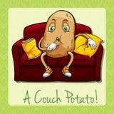 Couch potato idiom concept Stock Photo