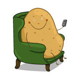 Couch Potato illustration. Smiling potato sitting on a couch with a remote control in his hands Royalty Free Stock Photography