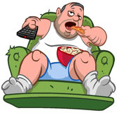 Couch potato man. Couch potato slob overweight man sitting on the sofa, eating pizza slice and popcorn while watching TV Stock Photo
