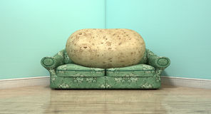 Couch Potato On Old Sofa. A literal depiction of a potato sitting on an old vintage sofa with a floral fabric in the corner of an empty room with light blue wall Royalty Free Stock Image