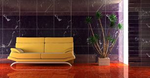 Couch into the room. 3d interior in dark blue colour with modern couch stock illustration