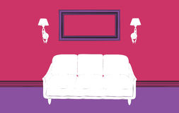 Couch with sconces and empty frame Stock Images