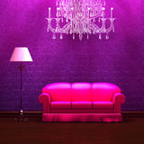 Couch and standard lamp with glass chandelier Stock Images