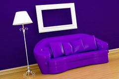 Couch with standard lamp in  interior. Royalty Free Stock Photo