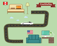 Couch surfing concept. Travel infographic. Share. Your sofa. Car on the road. 2015. Travel all over the world for free. Can be used as poster, banner, card stock illustration