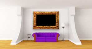 Couch, Table And Standard Lamp In Modern Gallery Royalty Free Stock Photography
