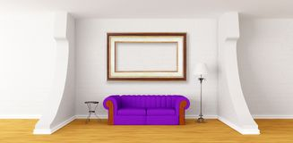 Couch, table and lamp in modern gallery Royalty Free Stock Photo