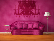 Couch with table, lamp and silhouette of luster Stock Images