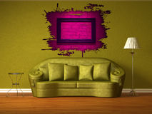 Couch with table, standard lamp and splash hole Royalty Free Stock Image