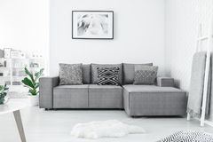 Couch with three pillows royalty free stock photography