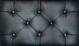Couch-type screed. Retro dark chesterfield style quilted upholstery backdrop close up. Black capitone pattern texture. Background Stock Images