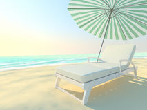 Couch and umbrella on a beach. Royalty Free Stock Photography